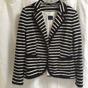 Zara XL Black and White Stripe Stretch Blazer